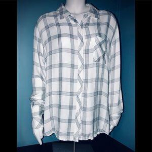 RAILS • Modern White & Gray Plaid Flannel / (L)